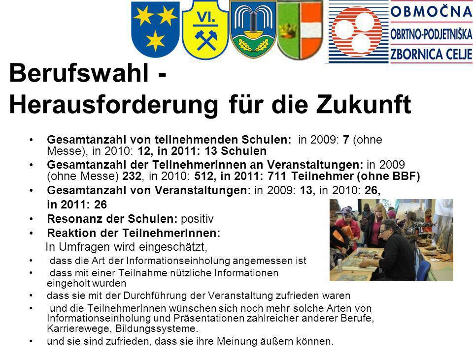 Berufswahl - Herausforderung für die Zukunft Gesamtanzahl von teilnehmenden Schulen: in 2009: 7 (ohne Messe), in 2010: 12, in 2011: 13 Schulen Gesamta