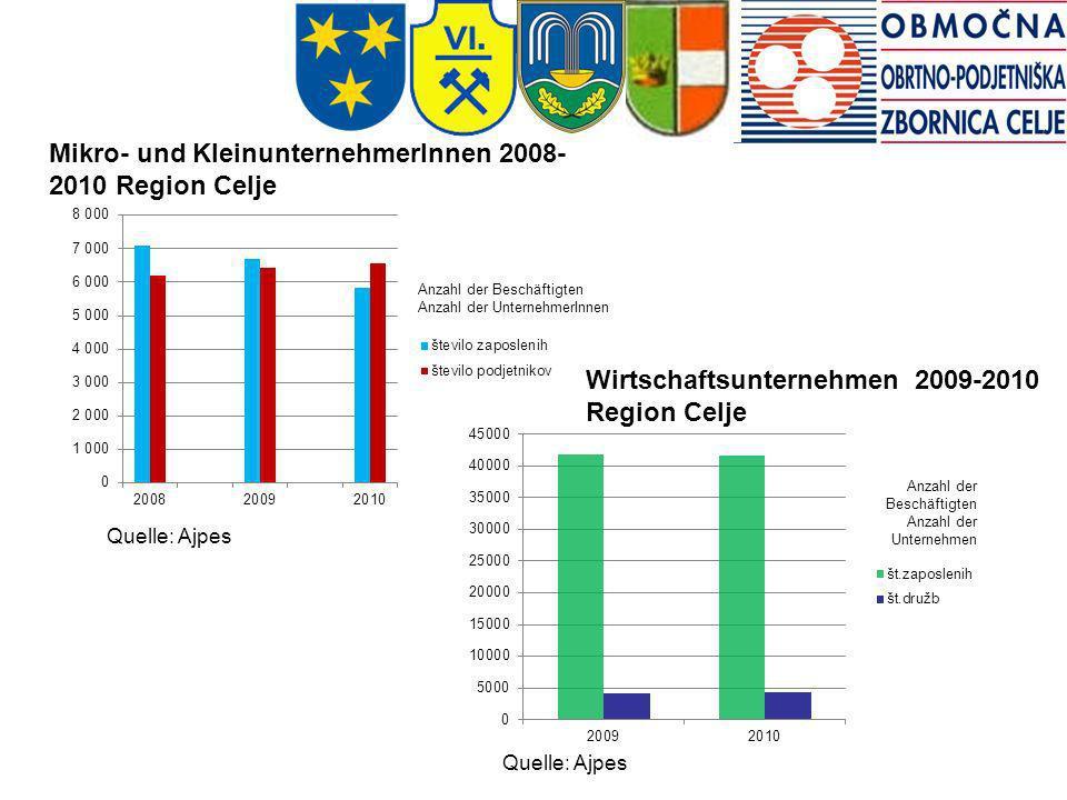 Quelle: Ajpes Mikro- und KleinunternehmerInnen 2008- 2010 Region Celje Wirtschaftsunternehmen 2009-2010 Region Celje Quelle: Ajpes Anzahl der Beschäft