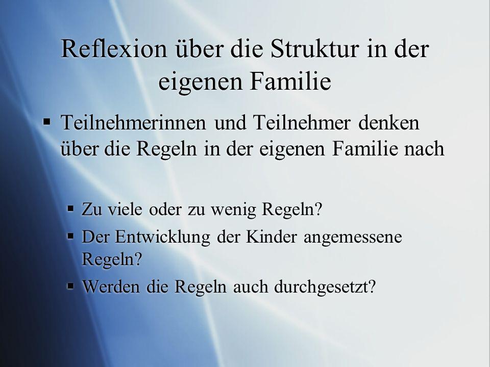 Reflexion über die Struktur in der eigenen Familie Teilnehmerinnen und Teilnehmer denken über die Regeln in der eigenen Familie nach Zu viele oder zu