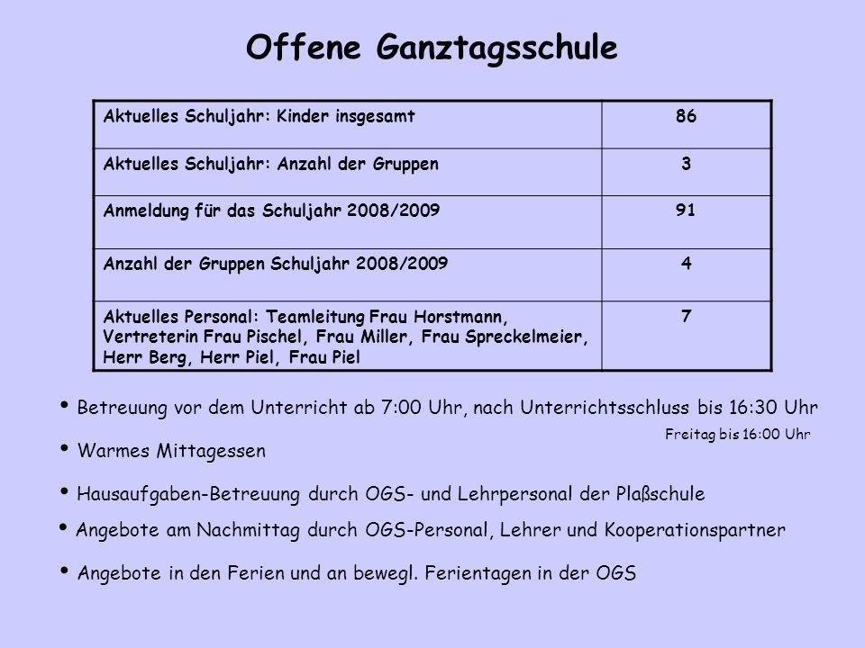 Offene Ganztagsschule Aktuelles Schuljahr: Kinder insgesamt86 Aktuelles Schuljahr: Anzahl der Gruppen3 Anmeldung für das Schuljahr 2008/200991 Anzahl