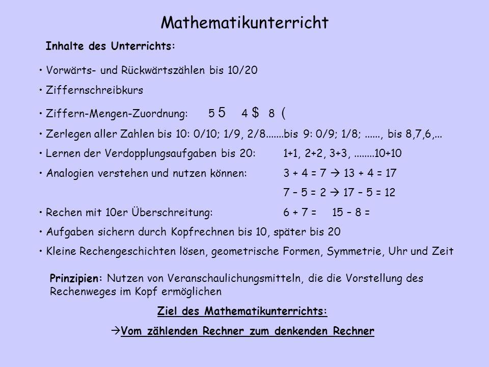 Mathematikunterricht Vorwärts- und Rückwärtszählen bis 10/20 Ziffernschreibkurs Ziffern-Mengen-Zuordnung: 5 5 4 $ 8 ( Zerlegen aller Zahlen bis 10: 0/