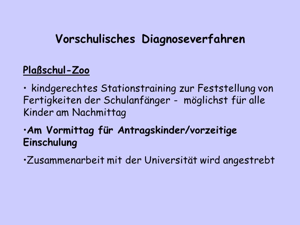 Vorschulisches Diagnoseverfahren Plaßschul-Zoo kindgerechtes Stationstraining zur Feststellung von Fertigkeiten der Schulanfänger - möglichst für alle