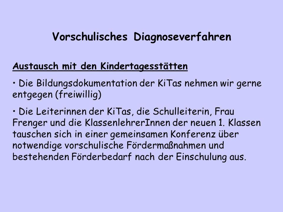 Vorschulisches Diagnoseverfahren Austausch mit den Kindertagesstätten Die Bildungsdokumentation der KiTas nehmen wir gerne entgegen (freiwillig) Die L