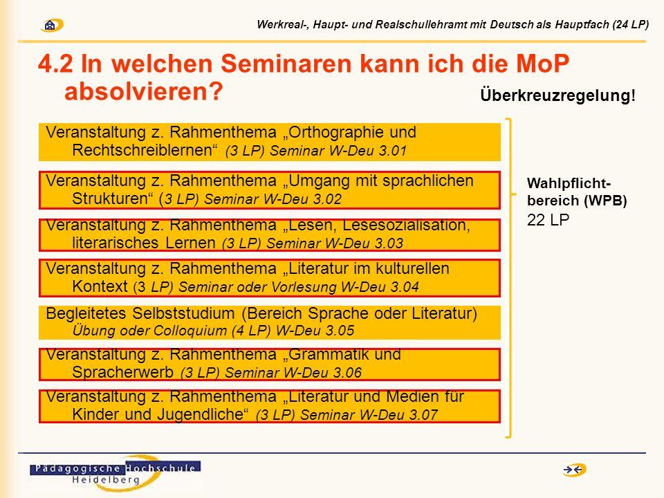 4.2 In welchen Seminaren kann ich die MoP absolvieren? Veranstaltung z. Rahmenthema Umgang mit sprachlichen Strukturen ( 3 LP) Seminar W-Deu 3.02 Vera