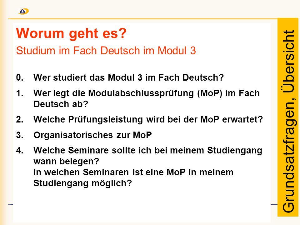Worum geht es? Studium im Fach Deutsch im Modul 3 0. Wer studiert das Modul 3 im Fach Deutsch? 1.Wer legt die Modulabschlussprüfung (MoP) im Fach Deut