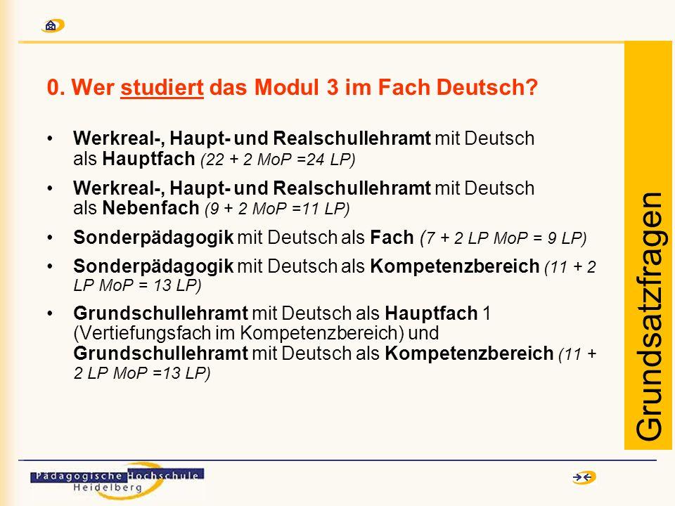 0. Wer studiert das Modul 3 im Fach Deutsch? Werkreal-, Haupt- und Realschullehramt mit Deutsch als Hauptfach (22 + 2 MoP =24 LP) Werkreal-, Haupt- un