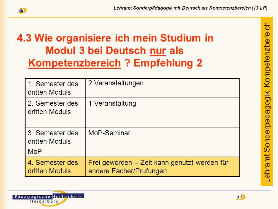 4.3 Wie organisiere ich mein Studium in Modul 3 bei Deutsch nur als Kompetenzbereich ? Empfehlung 2 1. Semester des dritten Moduls 2 Veranstaltungen 2