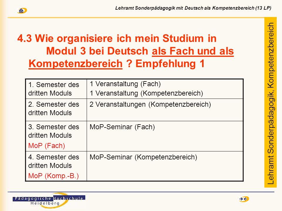 4.3 Wie organisiere ich mein Studium in Modul 3 bei Deutsch als Fach und als Kompetenzbereich ? Empfehlung 1 1. Semester des dritten Moduls 1 Veransta