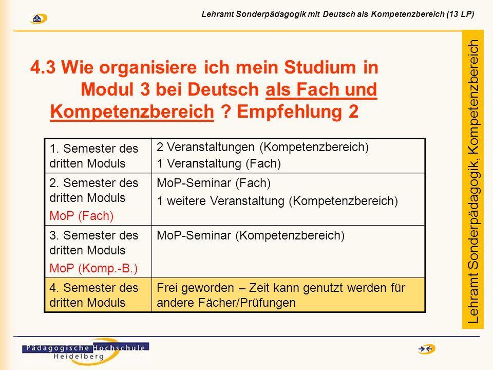 4.3 Wie organisiere ich mein Studium in Modul 3 bei Deutsch als Fach und Kompetenzbereich ? Empfehlung 2 1. Semester des dritten Moduls 2 Veranstaltun
