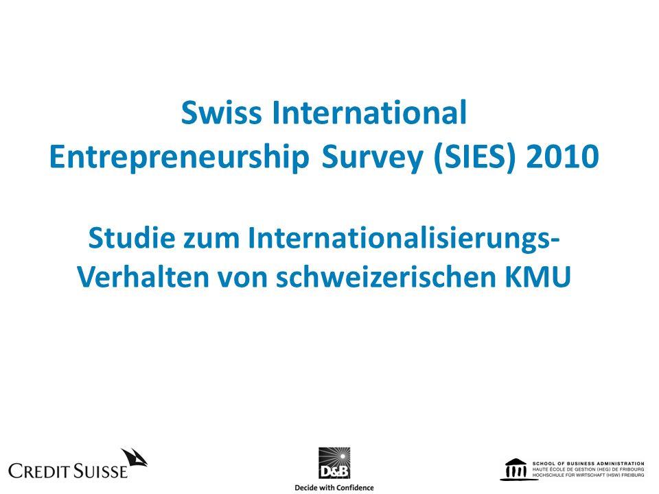 Swiss International Entrepreneurship Survey (SIES) 2010 Studie zum Internationalisierungs- Verhalten von schweizerischen KMU
