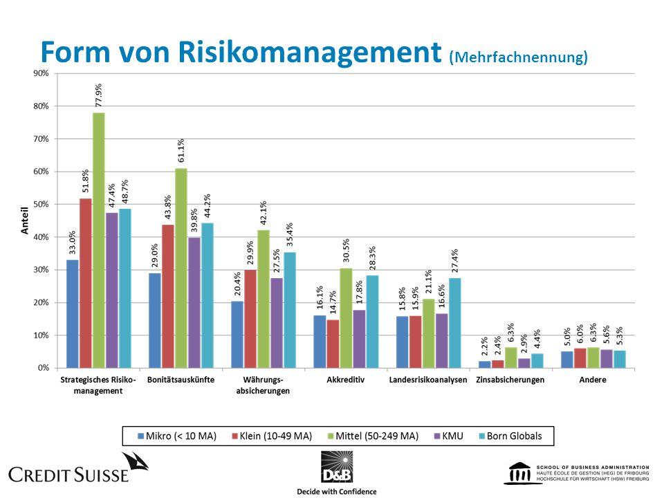 Form von Risikomanagement (Mehrfachnennung)