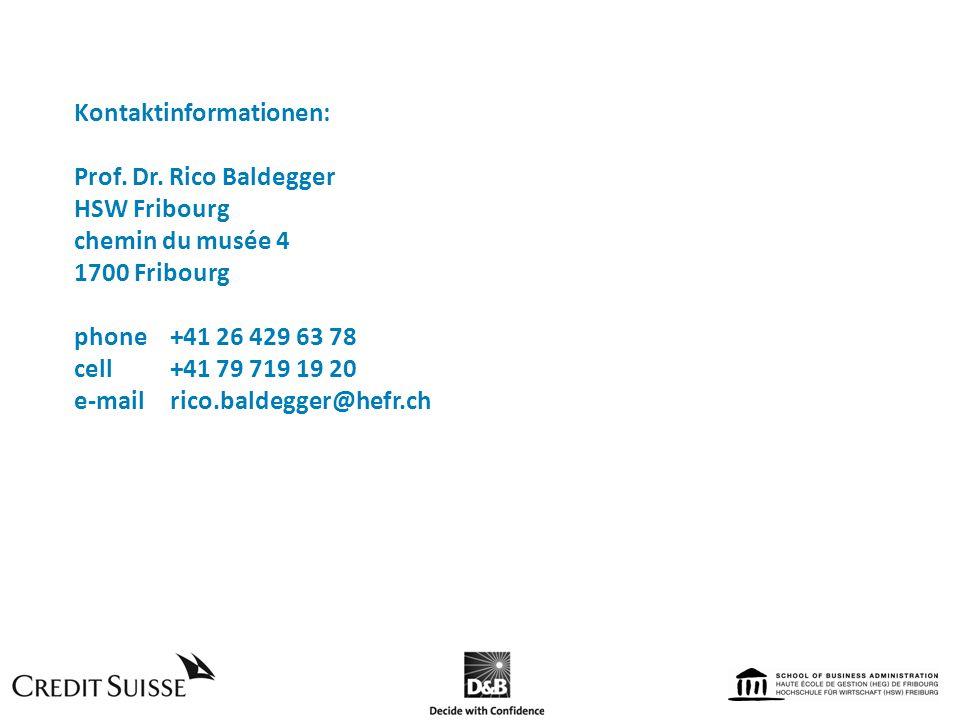 Kontaktinformationen: Prof. Dr. Rico Baldegger HSW Fribourg chemin du musée 4 1700 Fribourg phone +41 26 429 63 78 cell+41 79 719 19 20 e-mailrico.bal