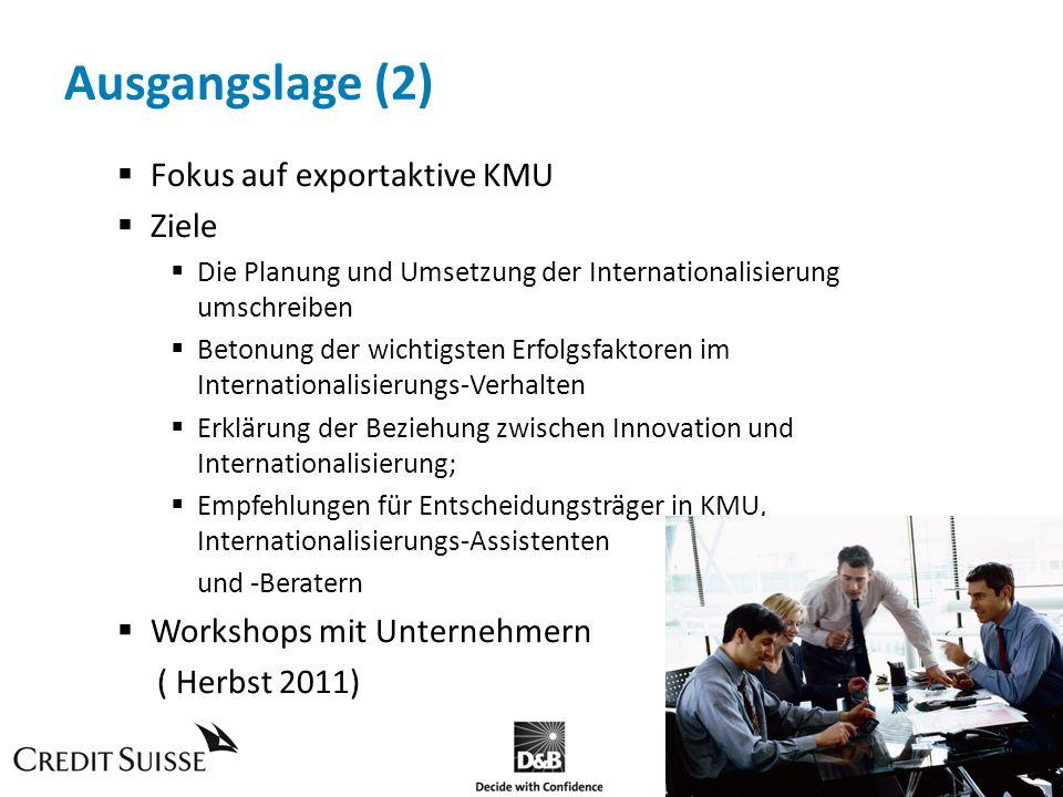 Ausgangslage (2) Fokus auf exportaktive KMU Ziele Die Planung und Umsetzung der Internationalisierung umschreiben Betonung der wichtigsten Erfolgsfakt