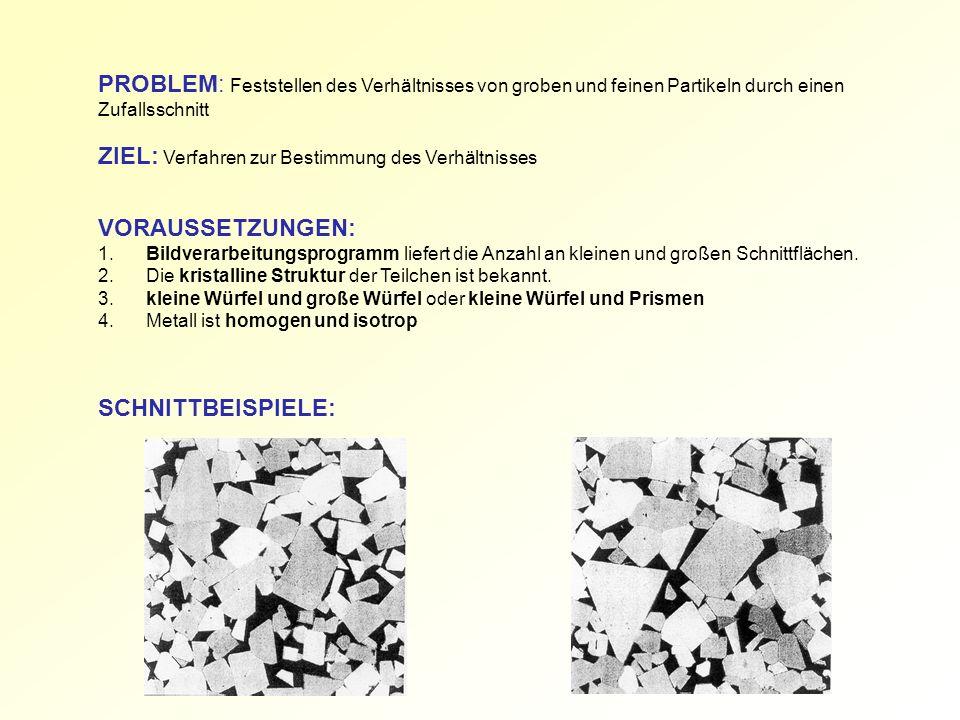 PROBLEM: Feststellen des Verhältnisses von groben und feinen Partikeln durch einen Zufallsschnitt ZIEL: Verfahren zur Bestimmung des Verhältnisses VORAUSSETZUNGEN: 1.Bildverarbeitungsprogramm liefert die Anzahl an kleinen und großen Schnittflächen.