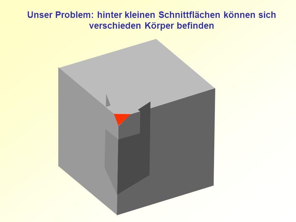 Unser Problem: hinter kleinen Schnittflächen können sich verschieden Körper befinden