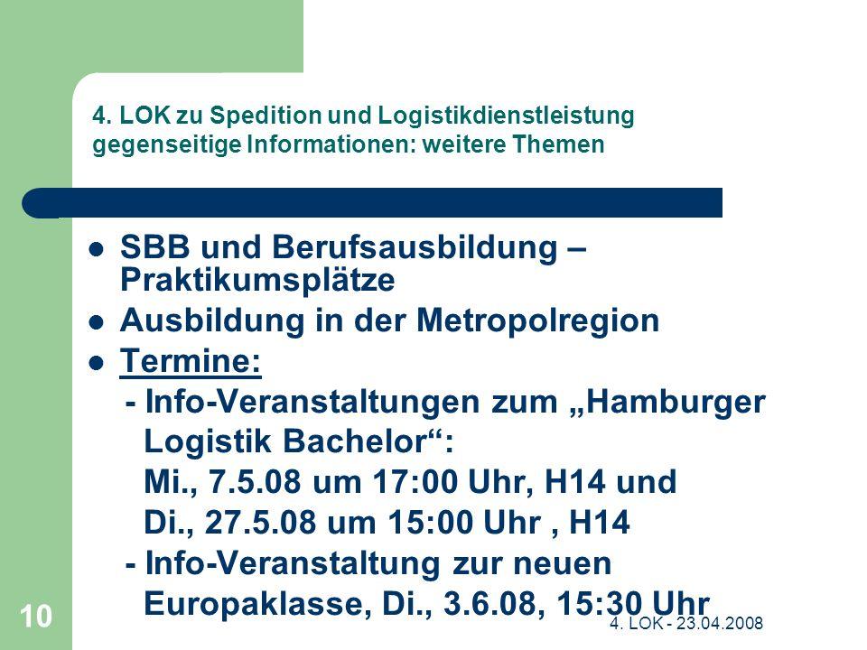 4. LOK - 23.04.2008 10 4. LOK zu Spedition und Logistikdienstleistung gegenseitige Informationen: weitere Themen SBB und Berufsausbildung – Praktikums