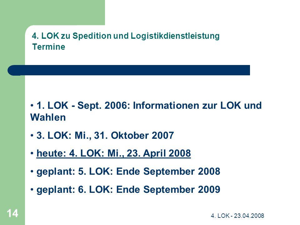 4.LOK - 23.04.2008 14 4. LOK zu Spedition und Logistikdienstleistung Termine 1.