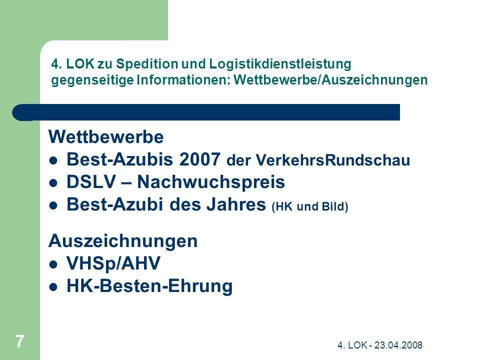 4. LOK - 23.04.2008 7 4. LOK zu Spedition und Logistikdienstleistung gegenseitige Informationen: Wettbewerbe/Auszeichnungen Wettbewerbe Best-Azubis 20