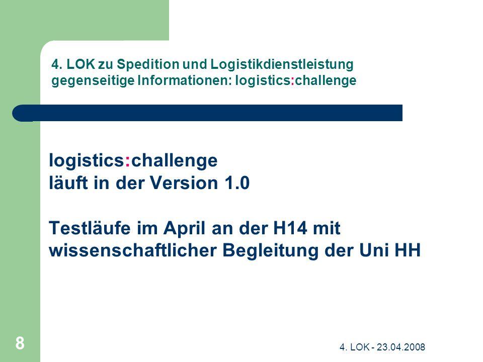 4. LOK - 23.04.2008 8 4. LOK zu Spedition und Logistikdienstleistung gegenseitige Informationen: logistics:challenge logistics:challenge läuft in der