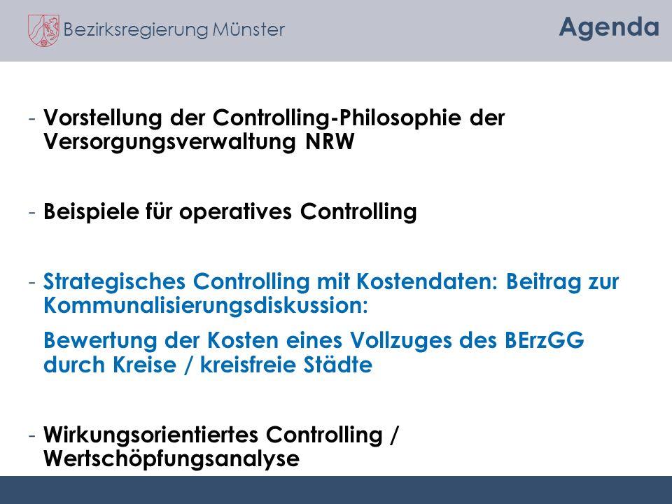 Bezirksregierung Münster Agenda - Vorstellung der Controlling-Philosophie der Versorgungsverwaltung NRW - Beispiele für operatives Controlling - Strat