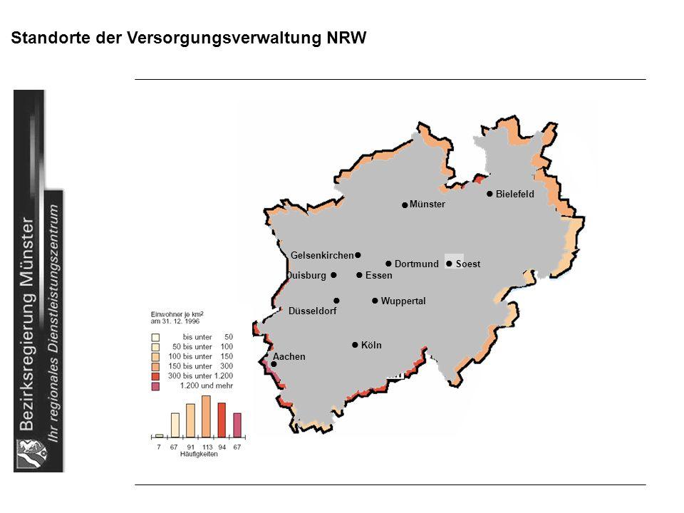 Standorte der Versorgungsverwaltung NRW Bielefeld Gelsenkirchen Dortmund Soest Duisburg Essen Wuppertal Düsseldorf Köln Aachen Münster
