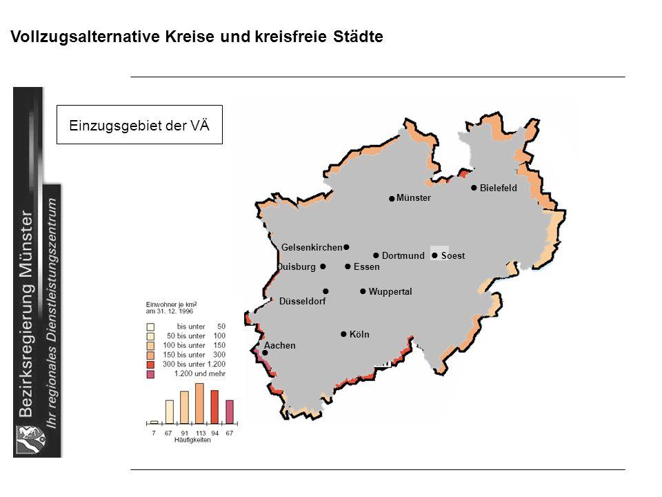 Vollzugsalternative Kreise und kreisfreie Städte Einzugsgebiet der VÄ Bielefeld Gelsenkirchen Dortmund Soest Duisburg Essen Wuppertal Düsseldorf Köln