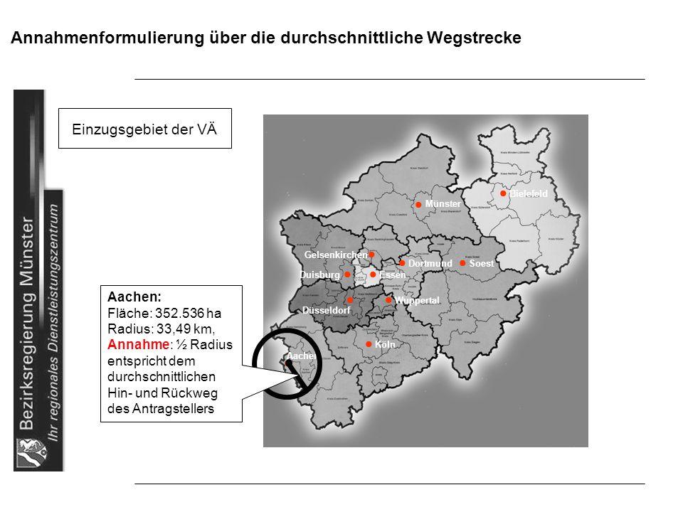 Annahmenformulierung über die durchschnittliche Wegstrecke Einzugsgebiet der VÄ Bielefeld Gelsenkirchen Dortmund Soest Duisburg Essen Wuppertal Düssel