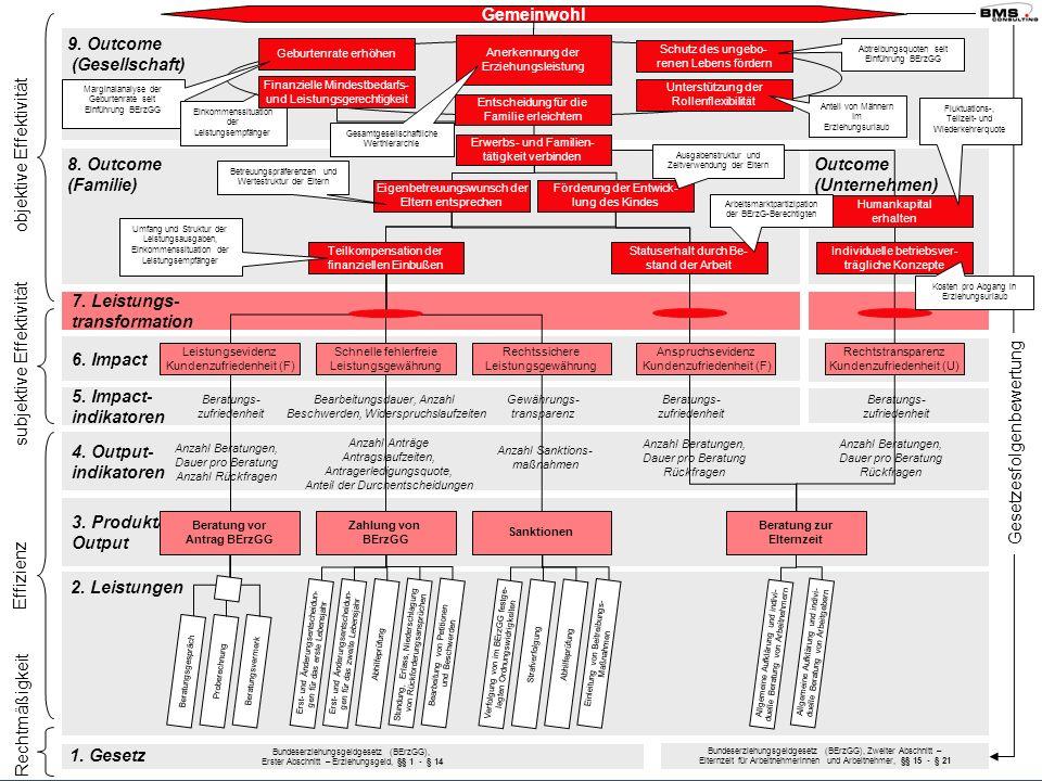 Bezirksregierung Münster 7. Leistungs- transformation 6. Impact 5. Impact- indikatoren 4. Output- indikatoren 9. Outcome (Gesellschaft) Outcome (Unter