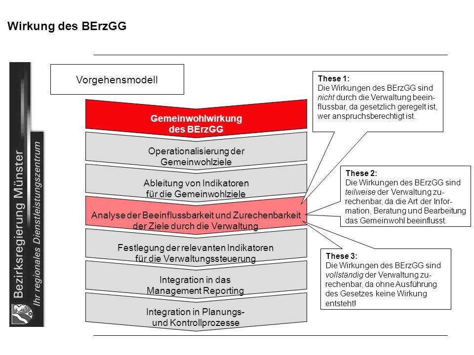 Wirkung des BErzGG Vorgehensmodell Gemeinwohlwirkung des BErzGG Operationalisierung der Gemeinwohlziele Ableitung von Indikatoren für die Gemeinwohlzi