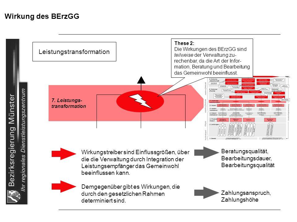 Wirkung des BErzGG Leistungstransformation 7. Leistungs- transformation Wirkungstreiber sind Einflussgrößen, über die die Verwaltung durch Integration