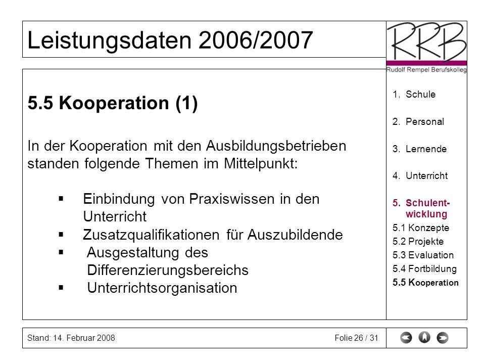 Stand: 14. Februar 2008 Leistungsdaten 2006/2007 Folie 26 / 31 5.5 Kooperation (1) In der Kooperation mit den Ausbildungsbetrieben standen folgende Th