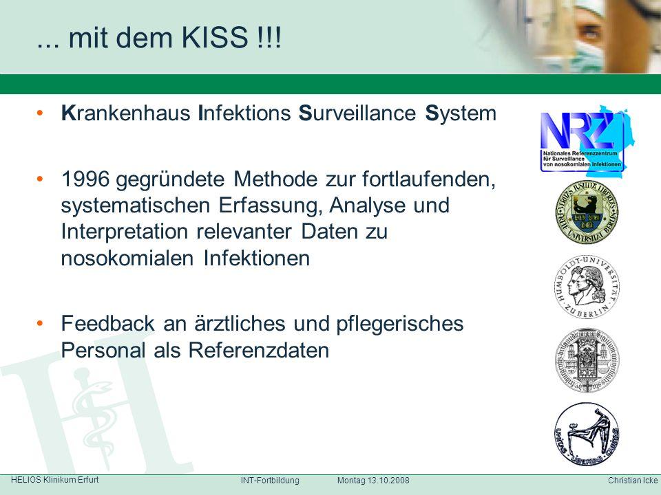 HELIOS Klinikum Erfurt Christian IckeINT-Fortbildung Montag 13.10.2008 Krankenhaus Infektions Surveillance System 1996 gegründete Methode zur fortlauf