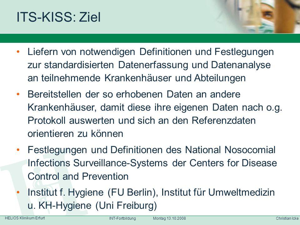 HELIOS Klinikum Erfurt Christian IckeINT-Fortbildung Montag 13.10.2008 Liefern von notwendigen Definitionen und Festlegungen zur standardisierten Date