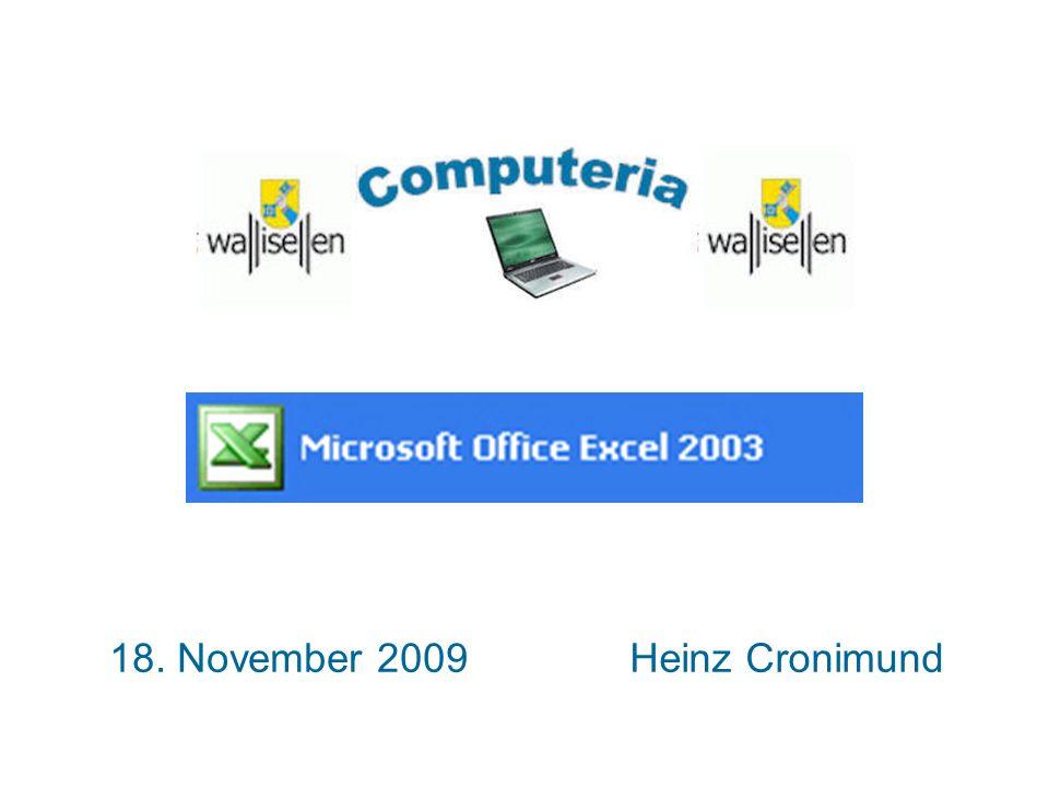 18.11.09 / CrSeite 12 Anzeigen von Funktionen Excel 2003 - Anzeigen von Funktionen 2.