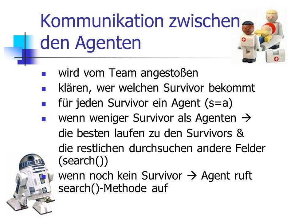Kommunikation zwischen den Agenten wird vom Team angestoßen klären, wer welchen Survivor bekommt für jeden Survivor ein Agent (s=a) wenn weniger Survi