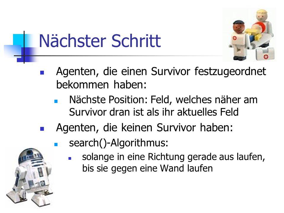 Nächster Schritt Agenten, die einen Survivor festzugeordnet bekommen haben: Nächste Position: Feld, welches näher am Survivor dran ist als ihr aktuell
