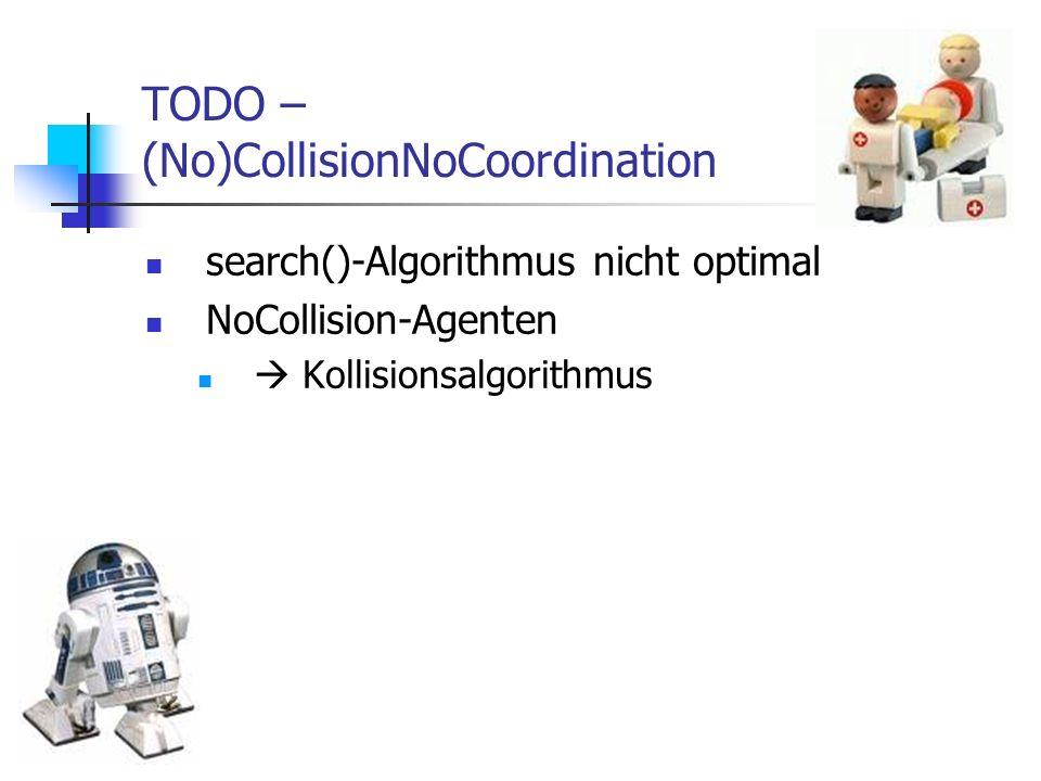 TODO – (No)CollisionNoCoordination search()-Algorithmus nicht optimal NoCollision-Agenten Kollisionsalgorithmus