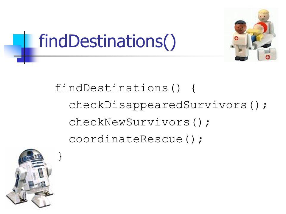 findDestinations() findDestinations() { checkDisappearedSurvivors(); checkNewSurvivors(); coordinateRescue(); }