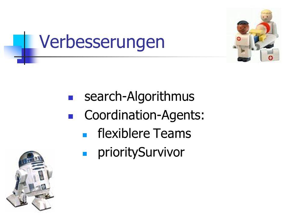 Verbesserungen search-Algorithmus Coordination-Agents: flexiblere Teams prioritySurvivor