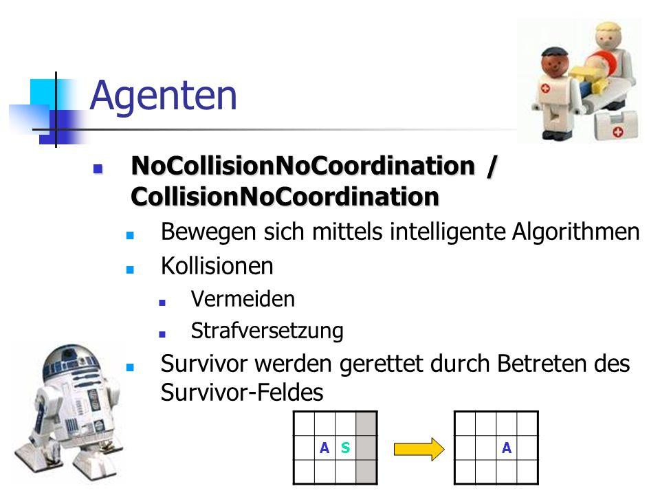 Agenten NoCollisionNoCoordination / CollisionNoCoordination NoCollisionNoCoordination / CollisionNoCoordination Bewegen sich mittels intelligente Algo