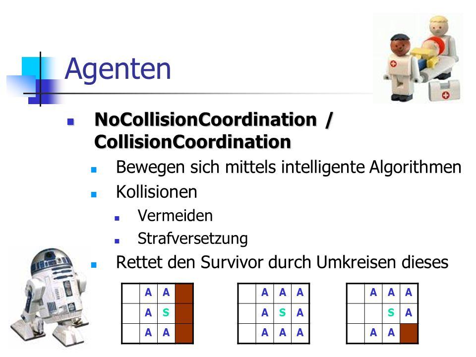 Agenten NoCollisionCoordination / CollisionCoordination NoCollisionCoordination / CollisionCoordination Bewegen sich mittels intelligente Algorithmen