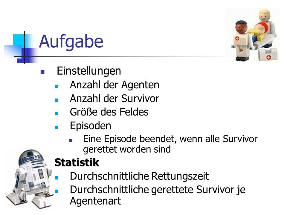 Aufgabe Einstellungen Anzahl der Agenten Anzahl der Survivor Größe des Feldes Episoden Eine Episode beendet, wenn alle Survivor gerettet worden sindSt