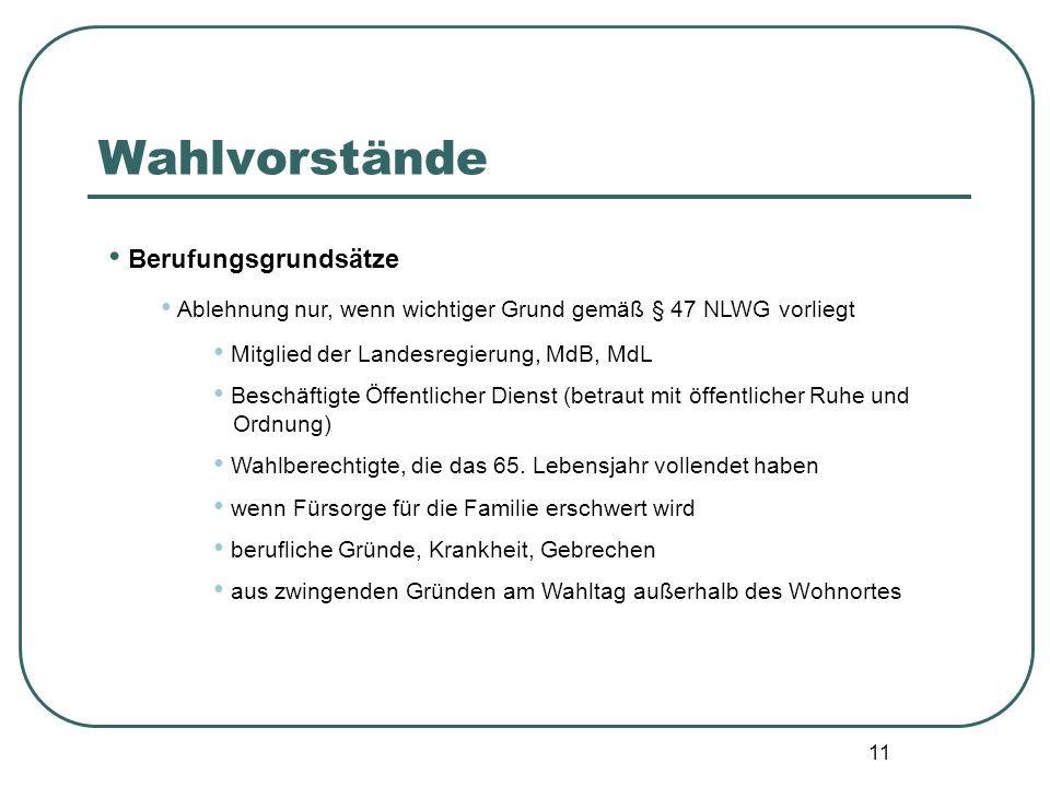 11 Berufungsgrundsätze Ablehnung nur, wenn wichtiger Grund gemäß § 47 NLWG vorliegt Mitglied der Landesregierung, MdB, MdL Beschäftigte Öffentlicher D
