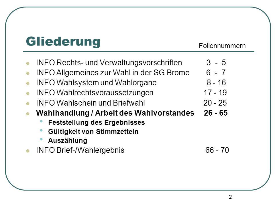 2 Gliederung INFO Rechts- und Verwaltungsvorschriften 3 - 5 INFO Allgemeines zur Wahl in der SG Brome 6 - 7 INFO Wahlsystem und Wahlorgane 8 - 16 INFO