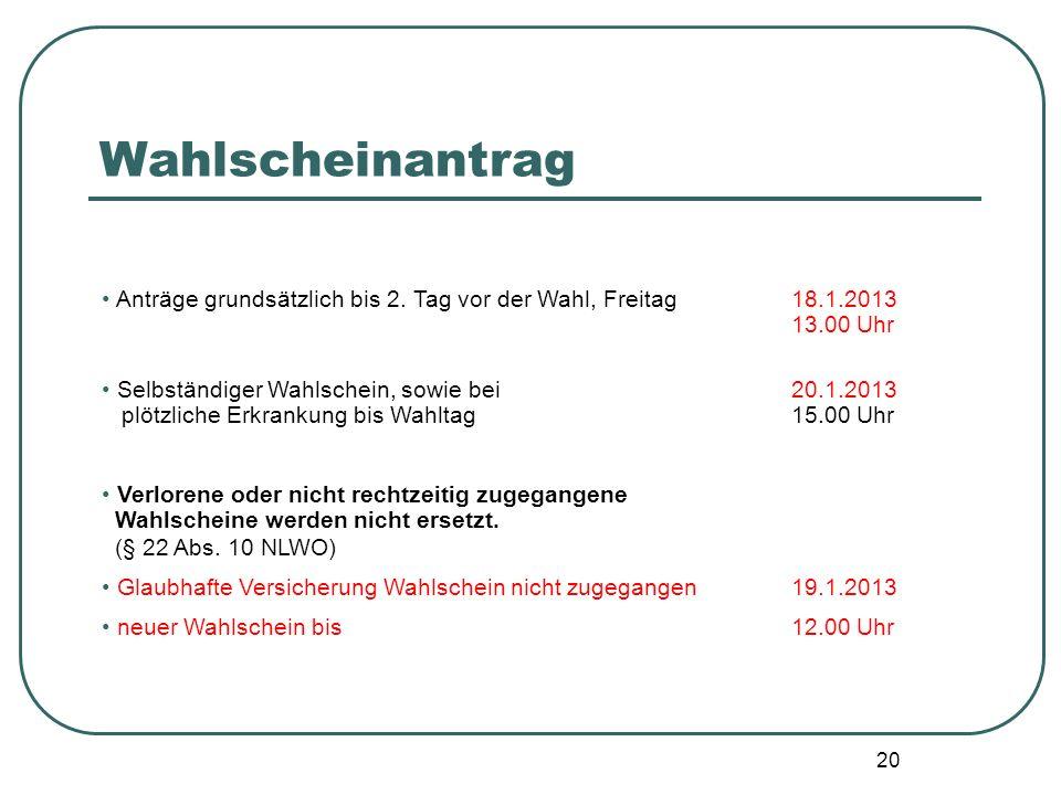 20 Anträge grundsätzlich bis 2. Tag vor der Wahl, Freitag18.1.2013 13.00 Uhr Selbständiger Wahlschein, sowie bei 20.1.2013 plötzliche Erkrankung bis W