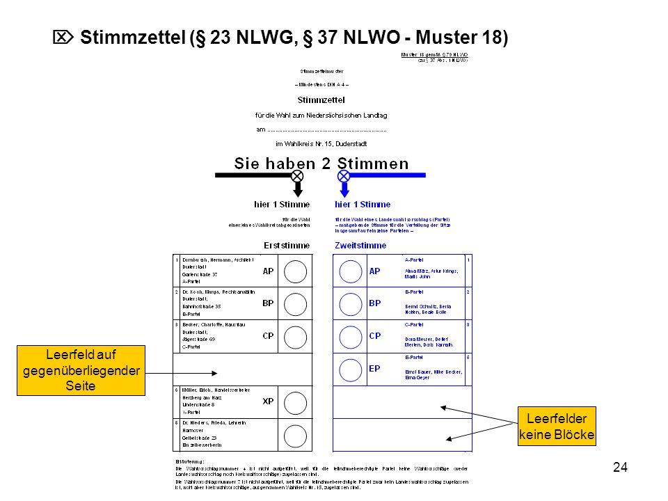 24 Stimmzettel (§ 23 NLWG, § 37 NLWO - Muster 18) Leerfelder keine Blöcke Leerfeld auf gegenüberliegender Seite
