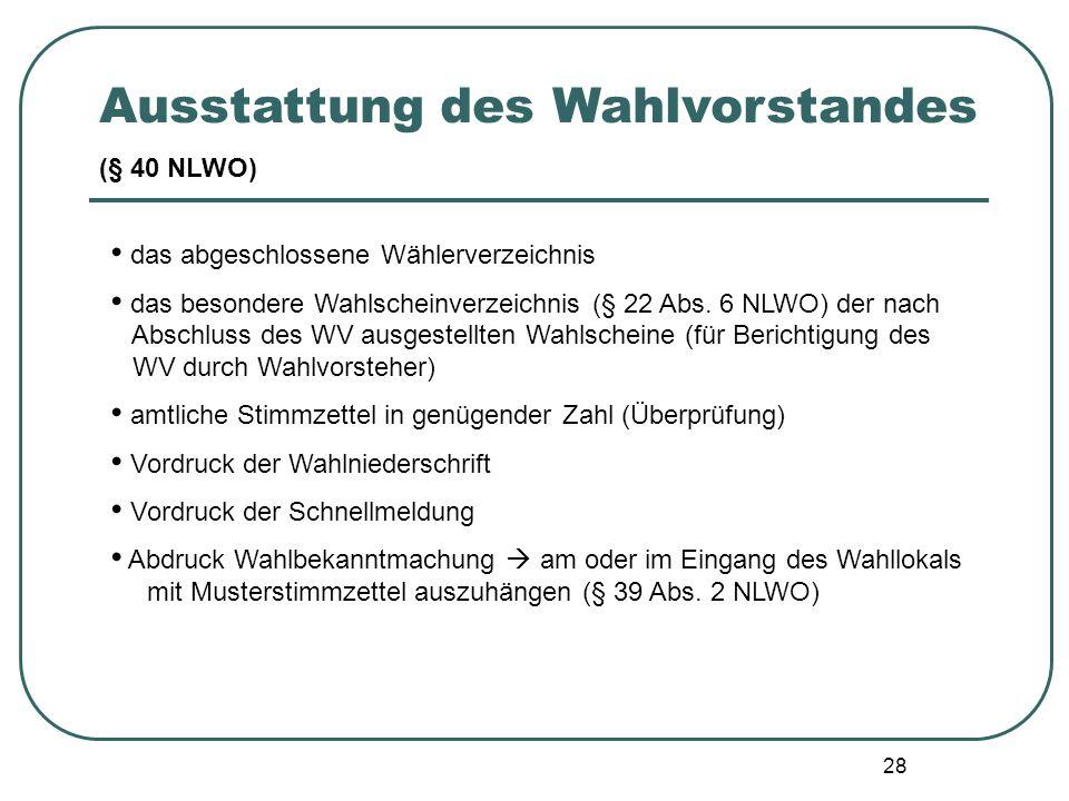 28 das abgeschlossene Wählerverzeichnis das besondere Wahlscheinverzeichnis (§ 22 Abs. 6 NLWO) der nach Abschluss des WV ausgestellten Wahlscheine (fü
