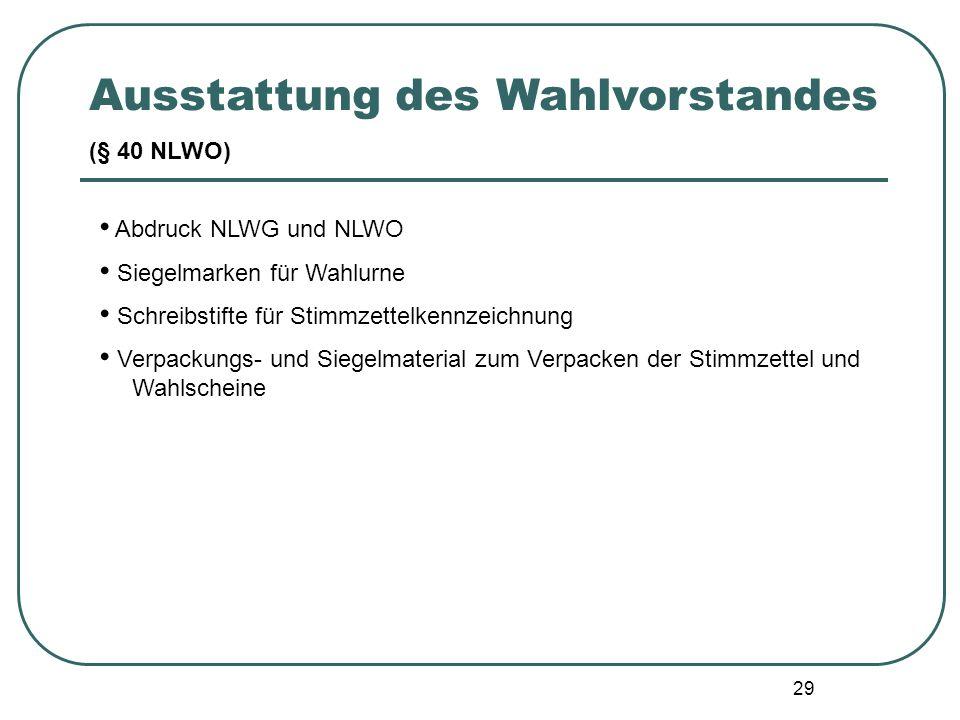 29 Abdruck NLWG und NLWO Siegelmarken für Wahlurne Schreibstifte für Stimmzettelkennzeichnung Verpackungs- und Siegelmaterial zum Verpacken der Stimmz