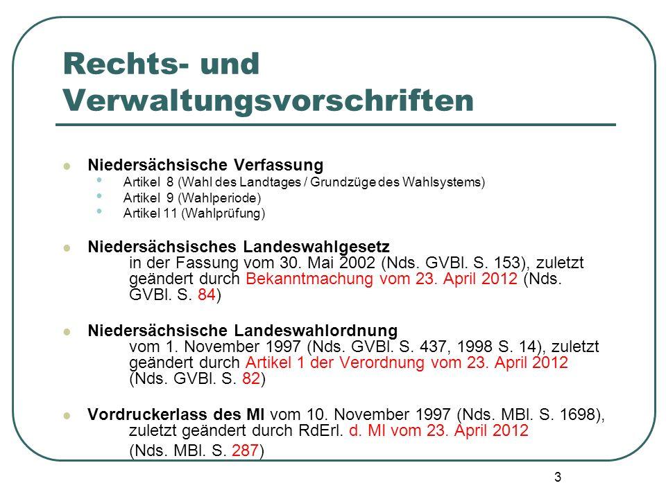 3 Rechts- und Verwaltungsvorschriften Niedersächsische Verfassung Artikel 8 (Wahl des Landtages / Grundzüge des Wahlsystems) Artikel 9 (Wahlperiode) A