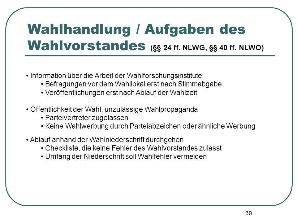 30 Information über die Arbeit der Wahlforschungsinstitute Befragungen vor dem Wahllokal erst nach Stimmabgabe Veröffentlichungen erst nach Ablauf der